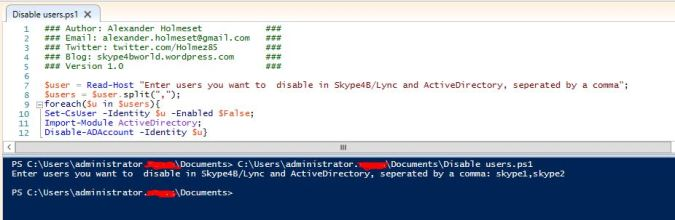 disable users script